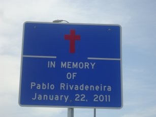Memorial sign for Pablo Rivadeneria